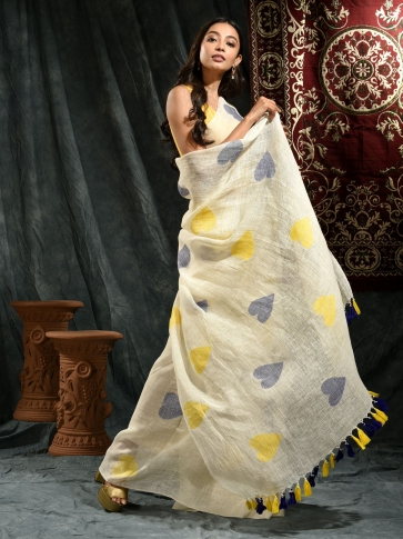 Ivory White Linen Saree With Heart Motifs