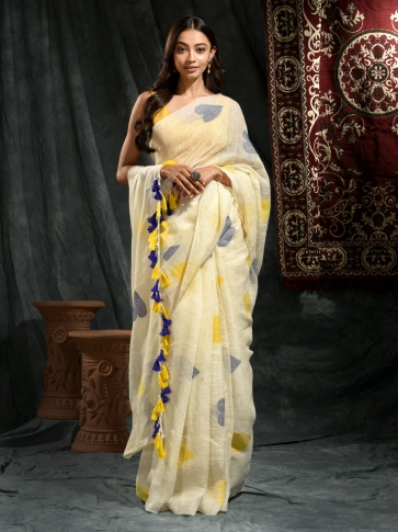 Ivory White Linen Saree With Heart Motifs 0