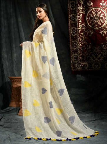 Ivory White Linen Saree With Heart Motifs 1