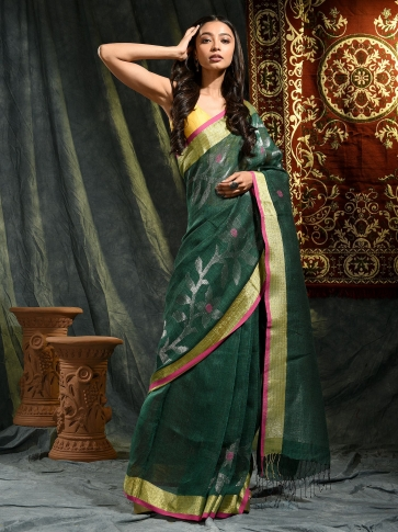 Prussian Green Linen Saree With Floral Designs