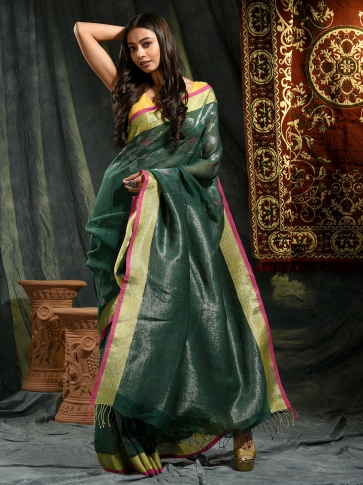 Prussian Green Linen Saree With Floral Designs 0