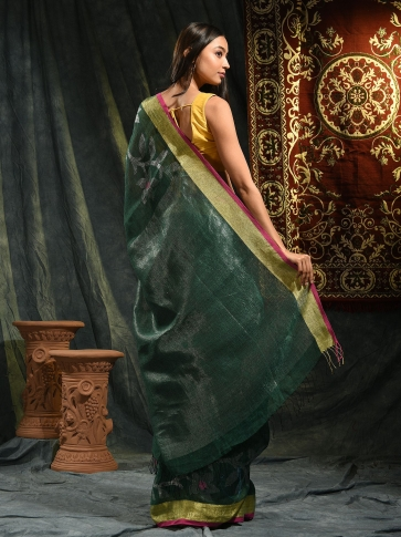 Prussian Green Linen Saree With Floral Designs 1