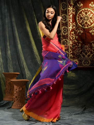 Blush Red Blended Cotton Saree With Blue Woven Pallu
