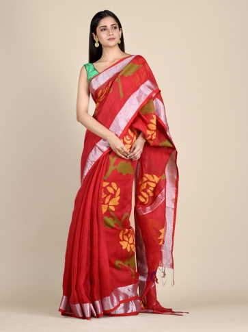 Crimson Red Linen Saree With Floral Designs