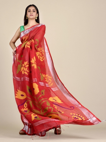 Crimson Red Linen Saree With Floral Designs 0