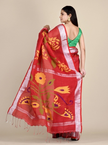 Crimson Red Linen Saree With Floral Designs 1