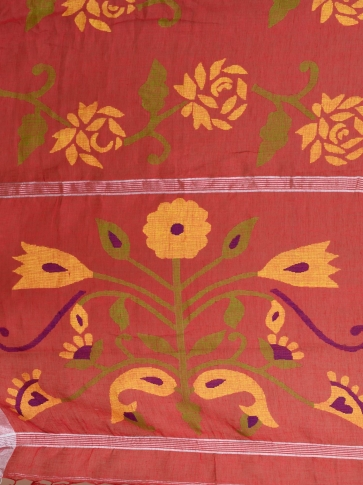 Crimson Red Linen Saree With Floral Designs 2