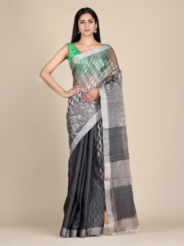 Anchor Grey Matka Silk Saree With Zari Designs