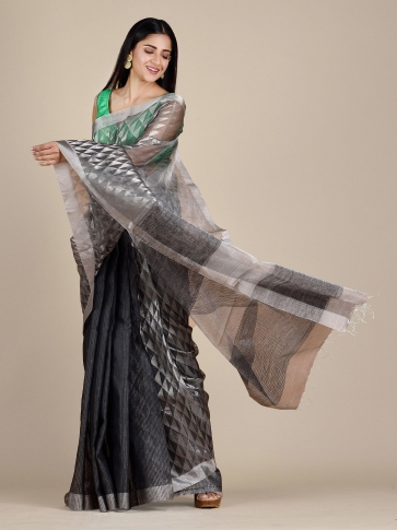 Anchor Grey Matka Silk Saree With Zari Designs 0