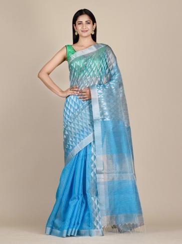 Sky Blue Matka Silk Saree With Zari Designs 0