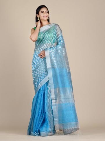 Sky Blue Matka Silk Saree With Zari Designs