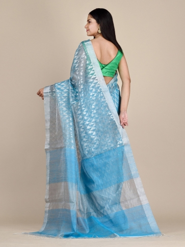 Sky Blue Matka Silk Saree With Zari Designs 1