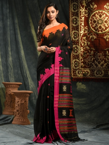 Black hand woven Cotton saree with duel border