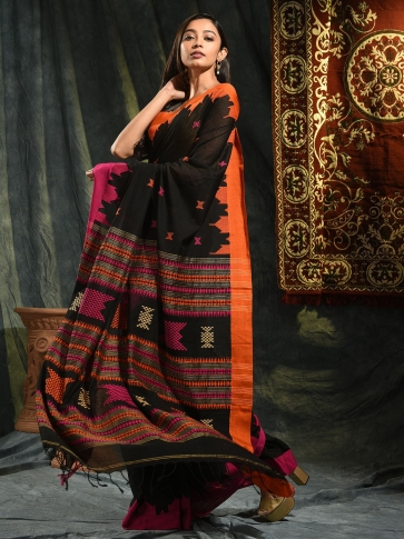 Black hand woven Cotton saree with duel border 0
