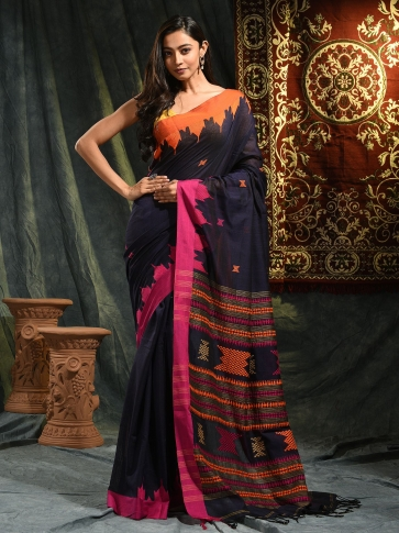 Blue hand woven Cotton saree with duel border