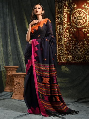 Blue hand woven Cotton saree with duel border 0