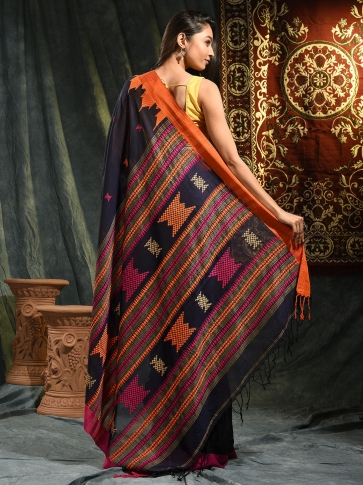 Blue hand woven Cotton saree with duel border 1