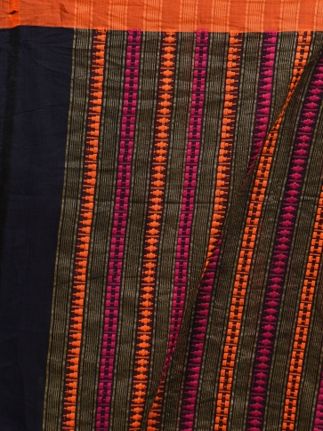 Blue hand woven Cotton saree with duel border 2