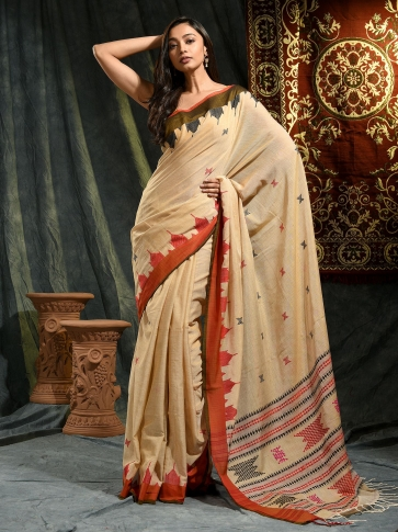 Beige hand woven Cotton saree with temple border