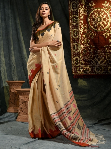 Beige hand woven Cotton saree with temple border 0