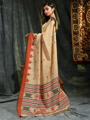 Beige hand woven Cotton saree with temple border 1