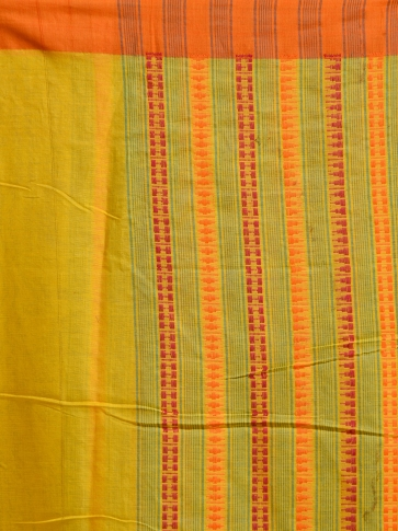 Yellow hand woven Cotton saree with temple border 2