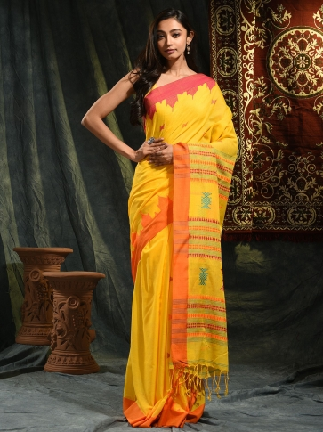 Yellow hand woven Cotton saree with temple border