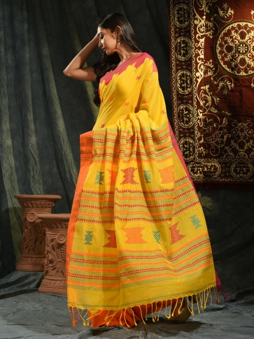 Yellow hand woven Cotton saree with temple border 0