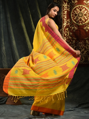 Yellow hand woven Cotton saree with temple border 1