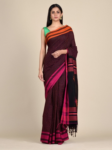Black Pure Cotton hand woven saree with stitch work 0