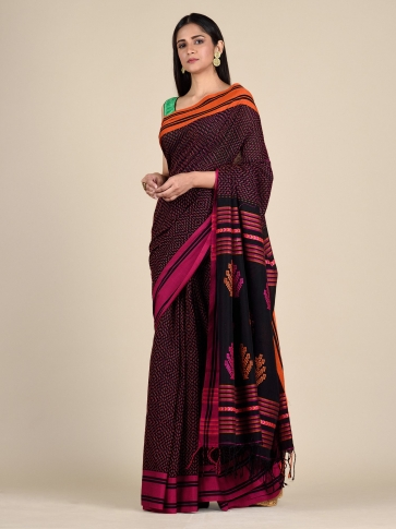 Black Pure Cotton hand woven saree with stitch work