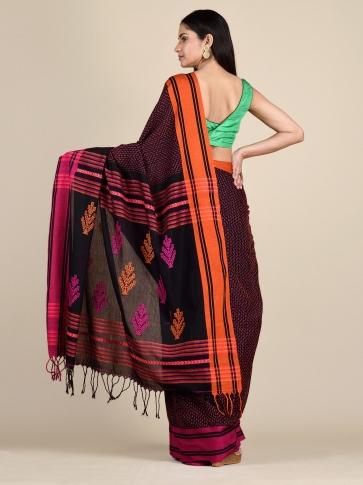 Black Pure Cotton hand woven saree with stitch work 1