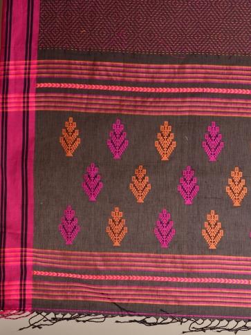 Black Pure Cotton hand woven saree with stitch work 2