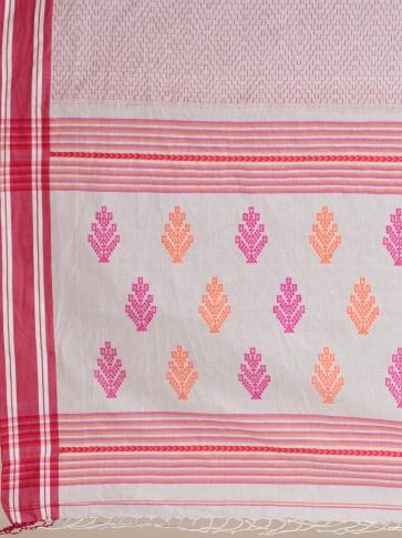 White Pure Cotton hand woven saree with stitch work 2