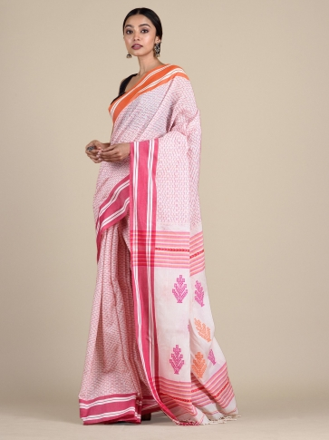 White Pure Cotton hand woven saree with stitch work 0