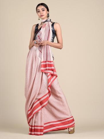 White Pure Cotton hand woven saree with stitch work