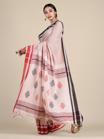 White Pure Cotton hand woven saree with stitch work 1