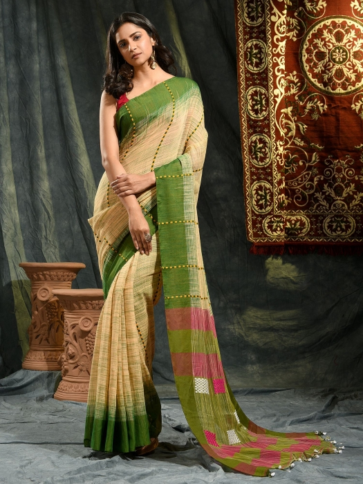 Beige and Green  hand woven soft Cotton saree 0