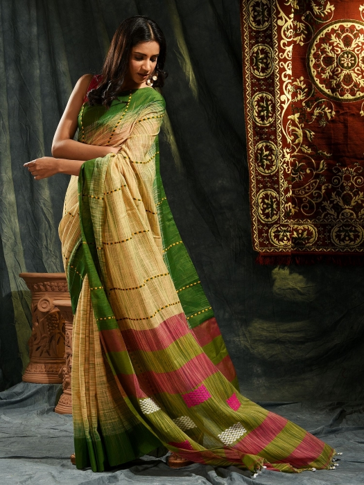 Beige and Green  hand woven soft Cotton saree