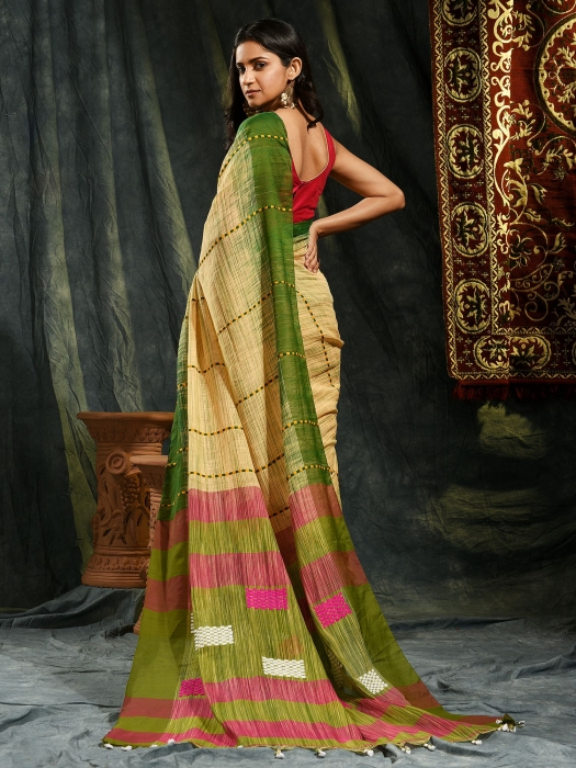 Beige and Green  hand woven soft Cotton saree 1