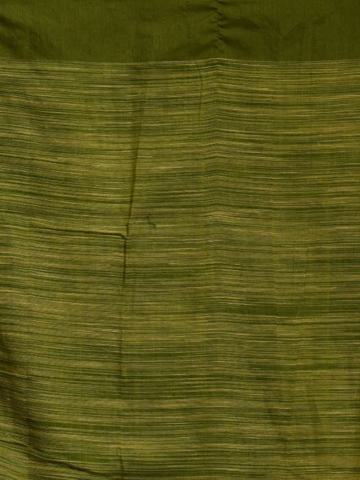 Beige and Green  hand woven soft Cotton saree 2