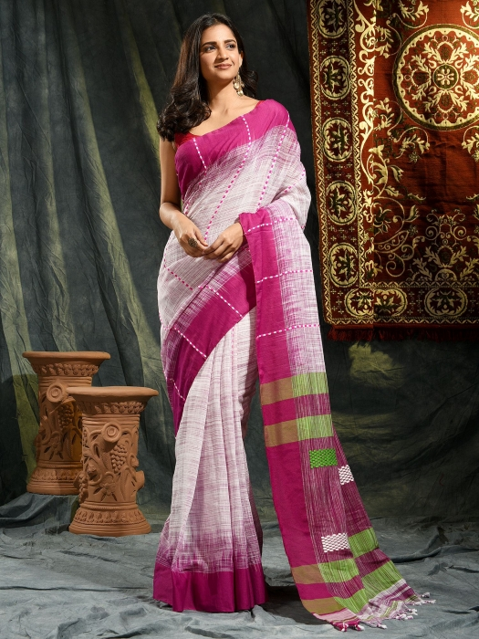 White and Violet hand woven soft Cotton saree