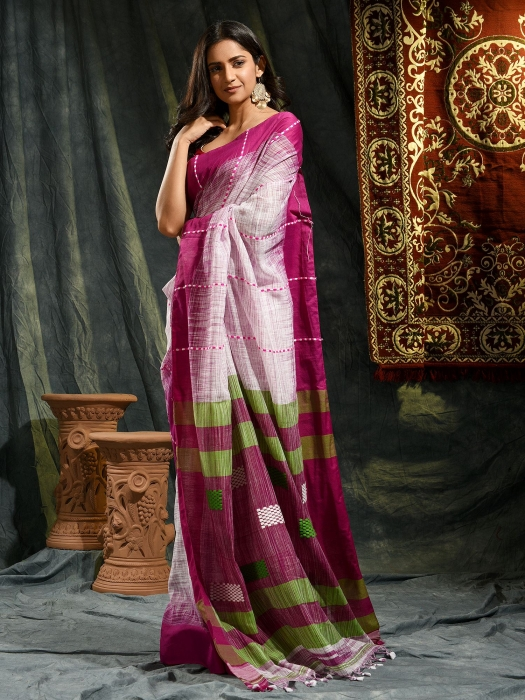White and Violet hand woven soft Cotton saree 0