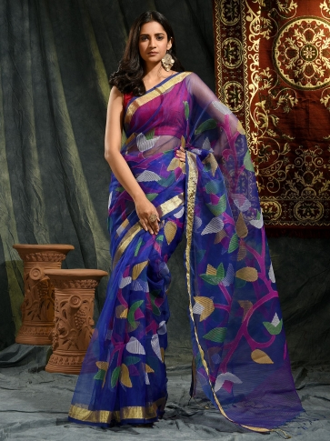 Blue Resham and Muslin hand woven saree with all over work