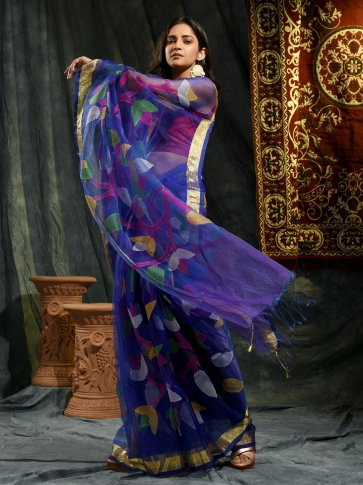 Blue Resham and Muslin hand woven saree with all over work 0