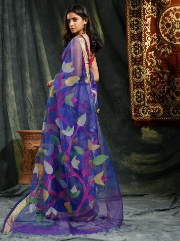 Blue Resham and Muslin hand woven saree with all over work 1