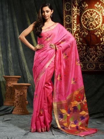 Pink Resham Matka hand woven saree with floral work in pallu 0