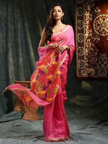 Pink Resham Matka hand woven saree with floral work in pallu
