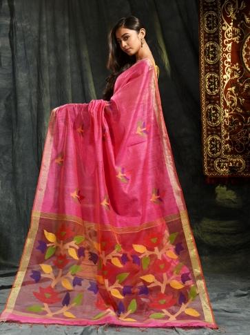 Pink Resham Matka hand woven saree with floral work in pallu 1