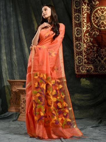 Orange Resham Matka hand woven saree with floral work in pallu 0
